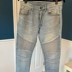 H&M Skinny Moto Jeans, 31R, Light Blue Wash